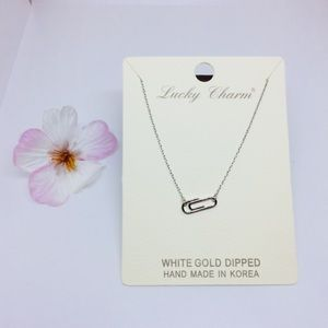 Jewelry - White Gold Dipped Necklace- Paper clip